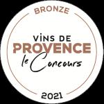 Palmarès 2021 - Millésimes 2020   Médaille de bronze Concours des Vins de Provence